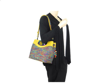 Fifth Avenue Yellow Leather and Rainbow Tweed Handbag model view