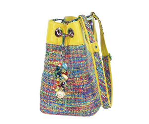 Fifth Avenue Yellow Leather and Rainbow Tweed Handbag side view