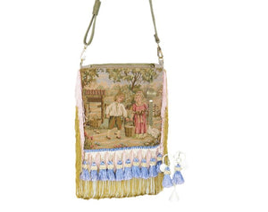 French Country Farm Children Tapestry Cottagecore Bag with tassel earrings