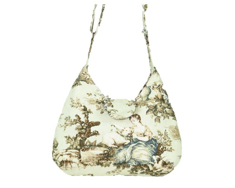 French Country Mint Toile Boho Crossbody Bag