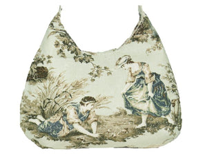 French Country Mint Toile Boho Crossbody Bag back view