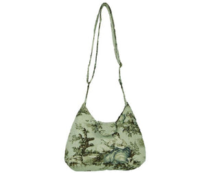 French Country Mint Toile Boho Crossbody Bag full strap view