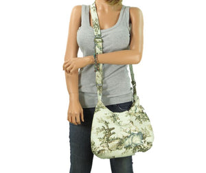 French Country Mint Toile Boho Crossbody Bag modeled