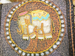 Ganesh Kalaga Embroidered Elephant Boho Gypsy Bag close-up