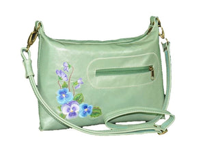 Genuine Leather Embroidered Pansies Cross Body Messenger Bag.JPG front view