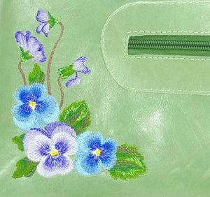 Genuine Leather Embroidered Pansies Cross Body Messenger Bag pansies embroidery