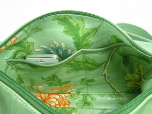 Genuine Leather Embroidered Pansies Cross Body Messenger Bag interior dual pockets