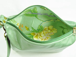 Genuine Leather Embroidered Pansies Cross Body Messenger Bag interior