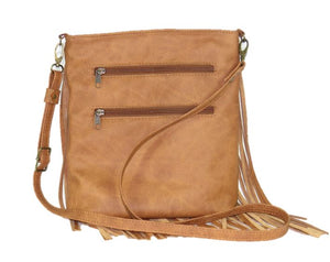 Golden Brown Leather Cross Body Fringe Bag back view