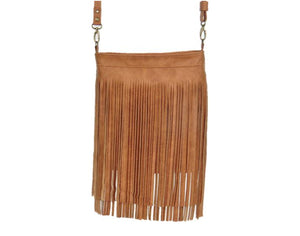 Golden Brown Leather Cross Body Fringe Bag hanging view