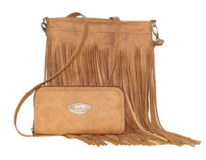 Golden Brown Leather Cross Body Fringe Bag with companion wallet