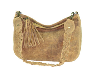 Golden Tan Distressed Leather Slouchy Hobo Bag