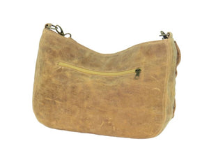 Golden Tan Distressed Leather Slouchy Hobo Bag back view