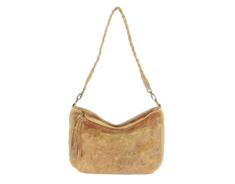 Golden Tan Distressed Leather Slouchy Hobo Bag braided handle
