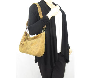 Golden Tan Distressed Leather Slouchy Hobo Bag model view