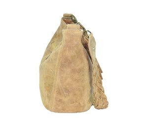 Golden Tan Distressed Leather Slouchy Hobo Bag side view