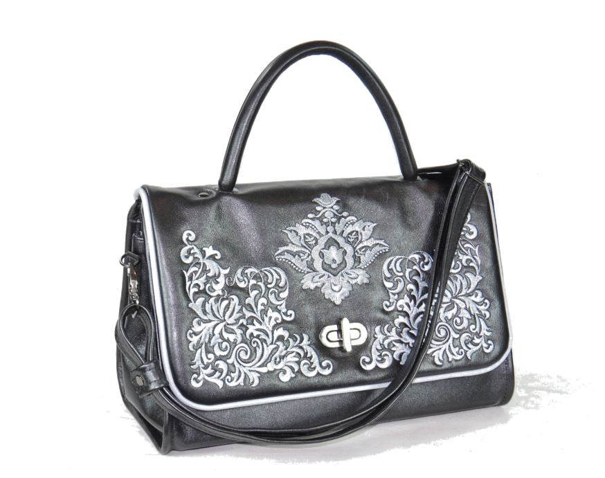 Gothic Embroidered Black Pearl Leather Flap Handbag
