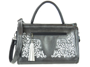 Gothic Embroidered Black Pearl Leather Flap Handbag back view