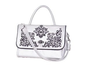 Gothic Embroidered Metallic Silver Leather Flap Handbag