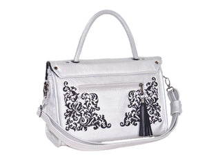Gothic Embroidered Metallic Silver Leather Flap Handbag back view