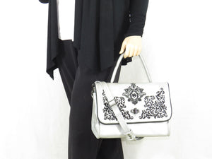 Gothic Embroidered Metallic Silver Leather Flap Handbag model view