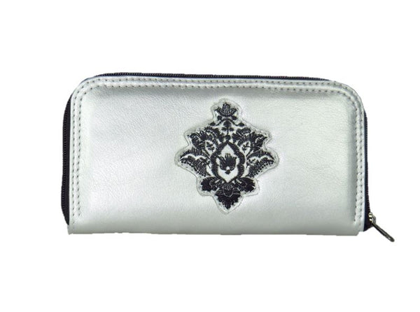 Gothic Embroidered Metallic Silver Leather Wallet