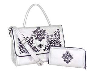 Gothic Embroidered Metallic Silver Leather Wallet with matching Top Handle Flap Bag