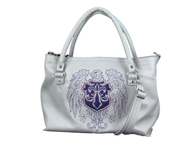 Gray Leather Tote Eagle Crest Hipster Bag front view