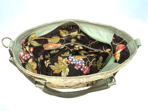 Green Olive Oversize Tote interior pockets view