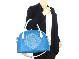 Mandala Bowler Bag Satchel Turquoise Ivory Genuine Leather model view