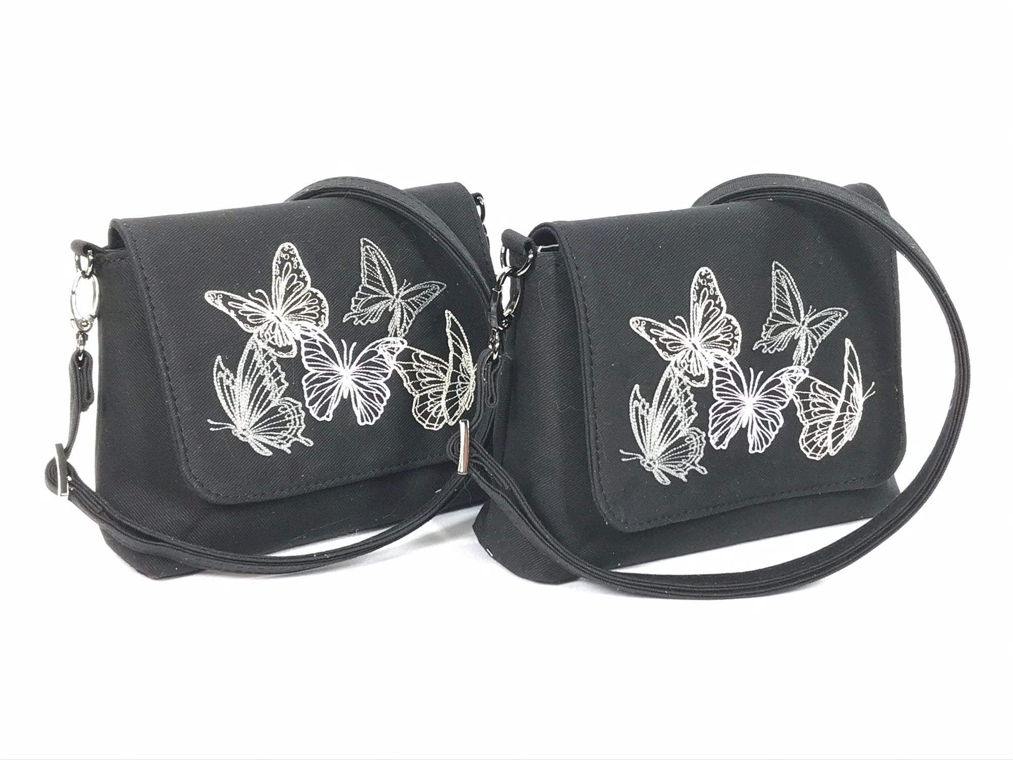 Ghost Butterflies Black Denim Mini Flap Bag