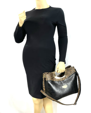 Fifth Avenue Black and Leopard Leather Bag