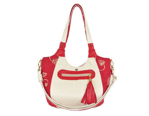 Ivory Leather and Red Tapestry Bucket Bag