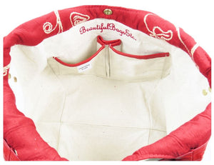 Ivory Leather and Red Tapestry Bucket Bag canvas lining