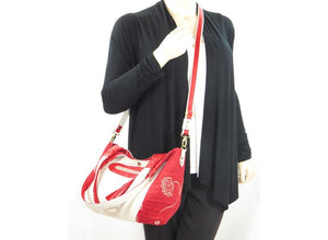 Ivory Leather and Red Tapestry Bucket Bag crossbody view