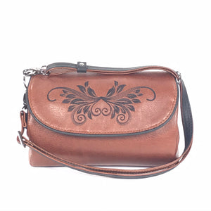 Juliette Whiskey Brown Leather Crossbody Bag