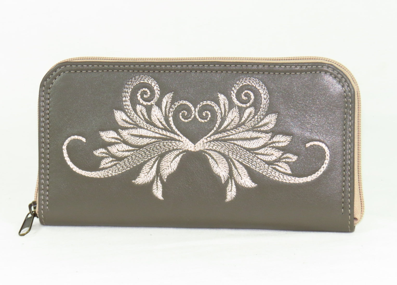 d020856ed6 Khaki Gray Embroidered Leather Wallet