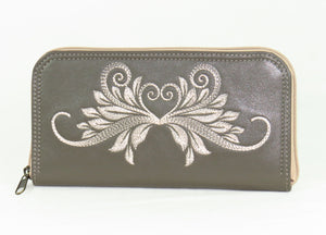 Khaki Gray Embroidered Leather Wallet