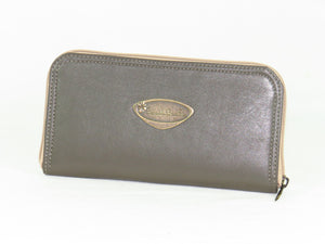 Khaki Gray Embroidered Leather Wallet reverse side
