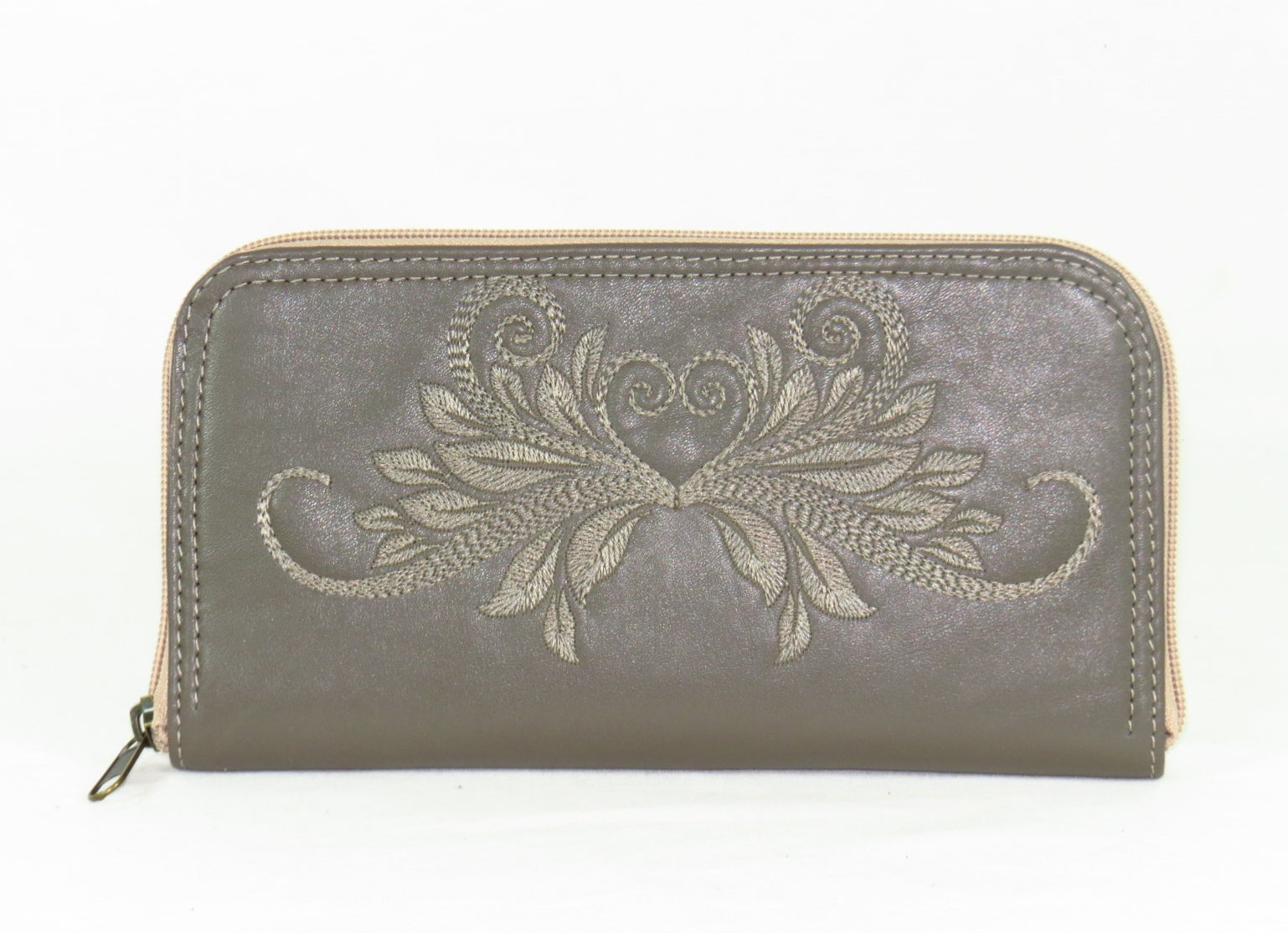 d56485ffca Khaki Gray Tone on Tone Embroidered Leather Wallet
