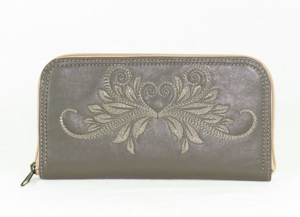 Khaki Gray Tone on Tone Embroidered Leather Wallet