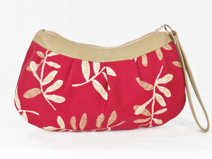 Lambskin and Red Botanical Print Wristlet