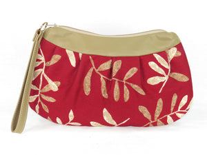 Lambskin and Red Botanical Print Wristlet reverse side