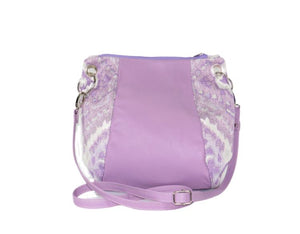 Lavender Leather and Tapestry Puff Pouch Cross Body