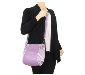 Lavender Leather and Tapestry Puff Pouch Cross Body model view