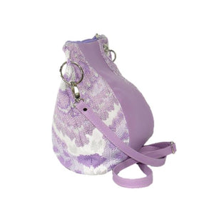 Lavender Leather and Tapestry Puff Pouch Cross Body side view