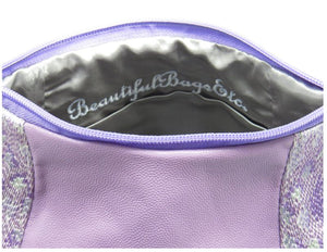 Lavender Leather and Tapestry Puff Pouch Cross Body signature