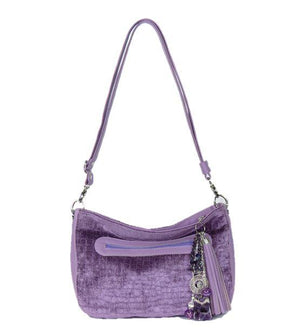 Lavender Leather and Velvet Slouchy Hobo strap view