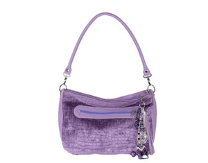 Lavender Leather and Velvet Slouchy Hobo