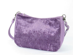 Lavender Leather and Velvet Slouchy Hobo back view